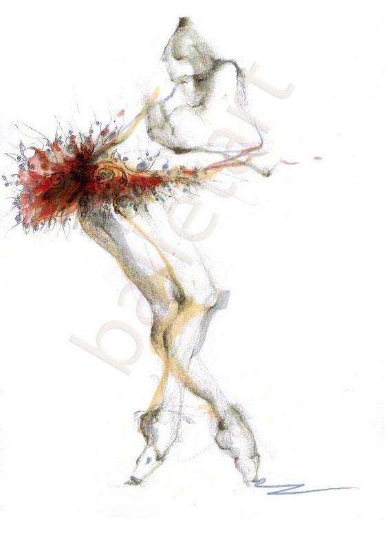 dance art print, ballet improvisation, ballet art, prints illustrations, wall decor, artwork, dance illustration