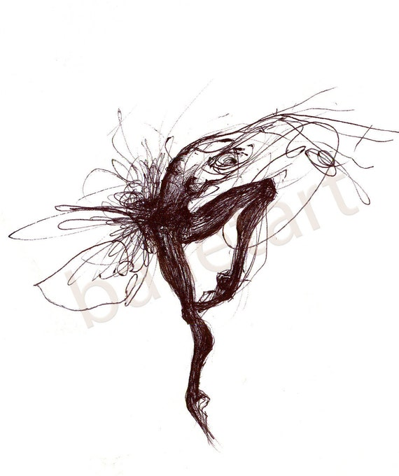 ballerina artwork, Black Bird, black and white wall art, art print, ballet art, dance gifts, black ink, hand drawing, illustrations