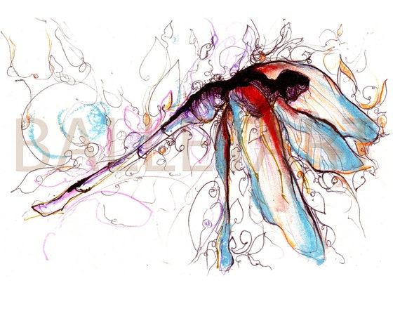 Dragonfly Dance - artwork - art printon watercolor paper, hand drawing, wall decor, illustrations prints floral graphics