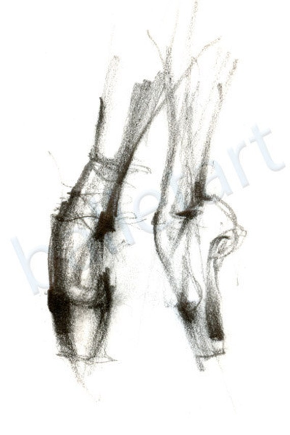 ballet on pointe dance art print pointe shoe pencil drawing