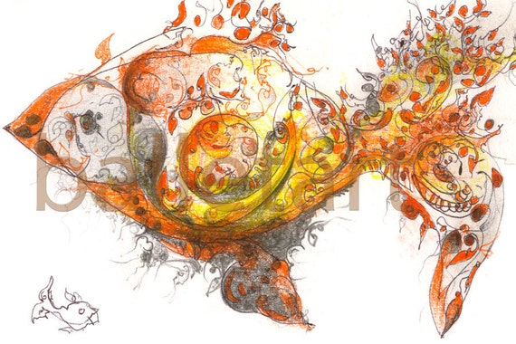 Yellow goldfish - art print, yellow artwork, hand drawing, interior design, wall decor, illustration, painting