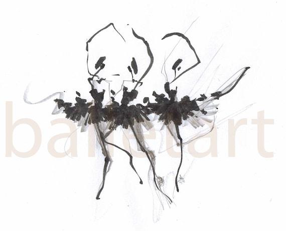 dance art prints, wall art, WithoutTheFourthSwan, Ballet art, ink, pencil drawing, black and white art, ballerina, artwork