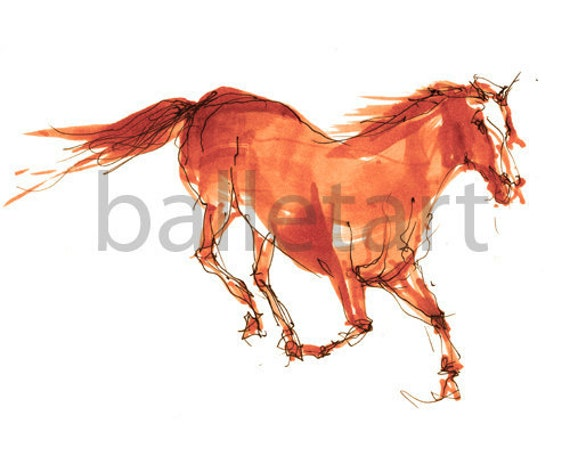 Horse Art, Dancing Horse, Orange Artwork, BalletArt, horse painting, horse wall decor, prints illustrations, art print, interior design