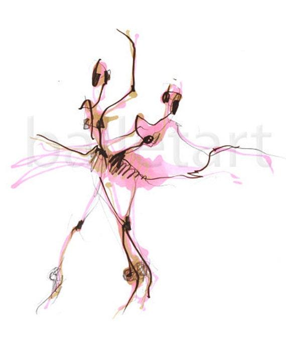 Dance Art Print, ballerina, pink tutu, sugar plum fairy, Ballet Art, wall art, pink print, fashion illustration, fashion print, dance gifts