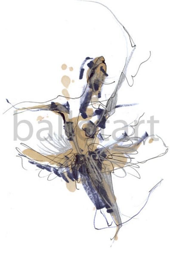 Dance Art print, Ballerina Image or imaginary dance drawing, Ballet art, prints illustrations, abstract art, figure drawing artwork painting