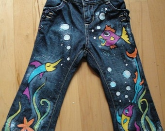 Hand Painted Fishy Jeans- Children's Sizes
