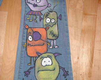 Custom Hand Painted Childrens Beastie and Monster Jeans