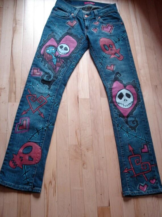 Custom Hand-Painted Valentine Jack Jeans/Skirt
