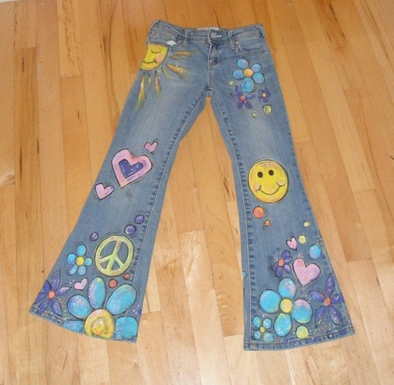 Flower Child Hand Painted Jeans By Scatterbirdie On Etsy