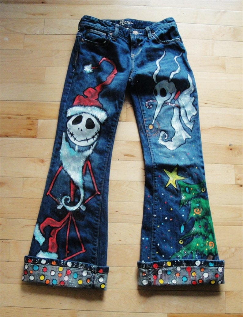 Custom Painted Christmas Jack Jeans For Kids
