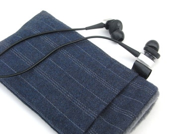 iphone 6 / 7 Fabric Cover  / Samsung S4 / Navy fine wool