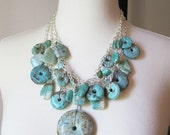 Turquoise Necklace 20 inch Chunky Multistrand Statement Necklace , sterling silver necklace