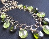 Green Statement Necklace, Green Zircon Necklace, Zircon, 14K Goldfilled Chain, Natural Zircon, Weddings, Brides Bridal
