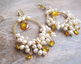 Wire wrap earrings, pearl and zircon earrings, OOAK, Canary Yellow Zircon and Freshwater Pearls Ready to Ship