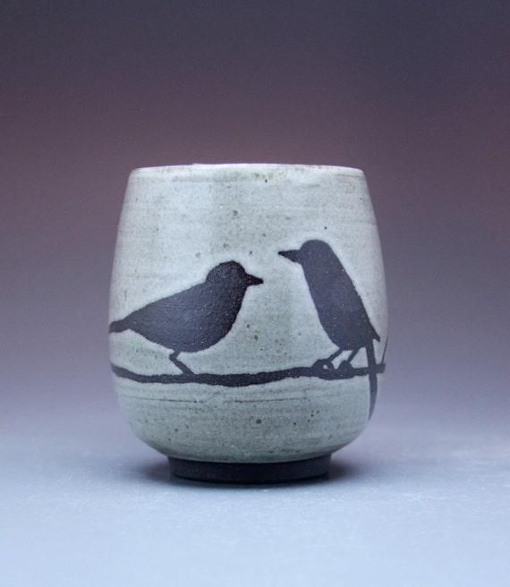 14 oz. Mug, 2 Birds, Antique White Glaze