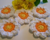 Five White, Orange and Yellow Eight Petal Crocheted Flower Appliques