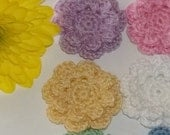 Six Two Layered Cotton Crocheted Applique Flowers White and Pink, Yellow, Purple, Blue and Green