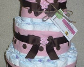 Diaper Cake in Pink and Brown Polka Dots