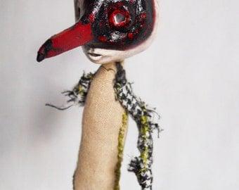 Creepy Plague Mask Ornament  fabric doll