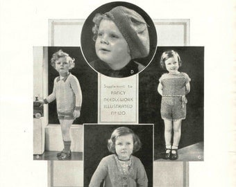 1930s Childrens Knit Pattern Tam Sweaters Playsuit Downton Abbey Era Instant Download