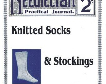 Antique Vintage 1900s Knitted Socks Patterns Needlecraft Practical Journal No 48 Series 1 CD Format