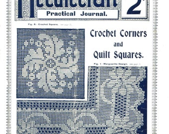Antique Vintage Crochet Quilt Squares Needlecraft Practical Journal No 96 Instant Digital Download
