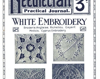 Antique White Embroidery Broderie Anglaise Richelieu Gayant Needlecraft Journal No 185 Series 2 CD