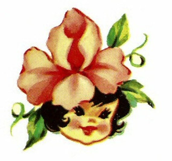 1950s Retro Style Cute Flower Girls Waterslide Decals