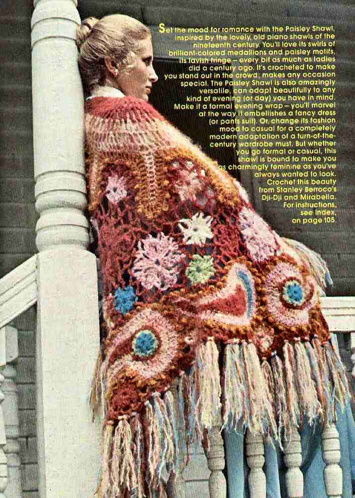 Vintage Retro Awesome Shawl Crochet Pattern PDF BOHO Instant