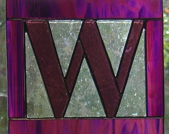 "Letter ""W"" Initial CUSTOM Stained Glass Suncatcher Pick Your Own Colors"