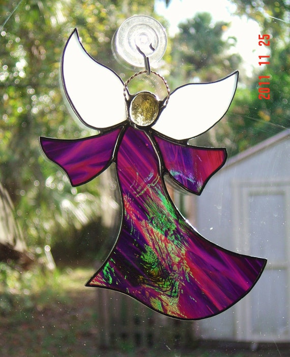 Iridescent Purple Handmade Stained Glass Angel Suncatcher with Halo