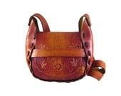 1970's Psychedelic Hippie Vintage Rare Tooled Leather Handbag Saddle Bag