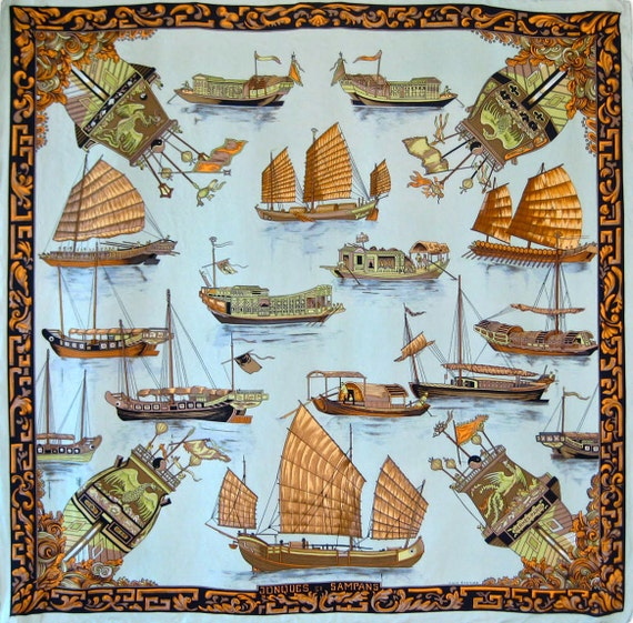HERMES Jonques et Sampans by Francoise de la Perriere Silk Scarf Authentic Vintage