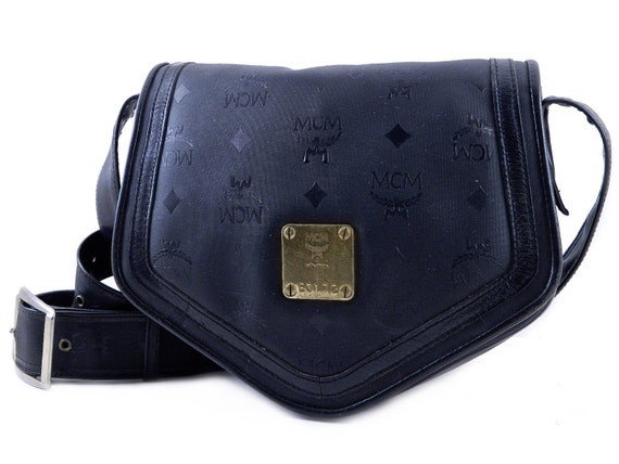 Authentic MCM Munchen Black Leather and Monogram Vinyl Cross Body Shoulder Bag West Germany