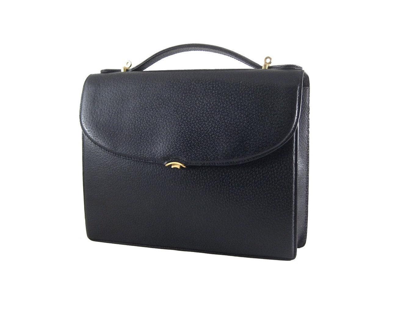 Gucci Vintage Portfolio Black Leather Square Handbag Rare