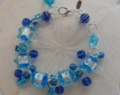 Aqua and Dark Blue Cha Cha Lampwork Bracelet