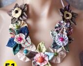 Garden Party Calico wedding Fabric Flower Statement Necklace