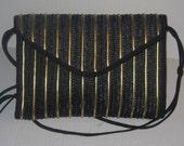 SALE Black Wicker with Gold Leather like Trim Vintage Handbag