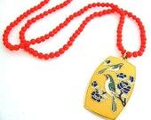 1970s Red bead Colorful Enamel BIRD Pendant Vintage NECKLACE