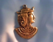 Egyptian Queen brass Vintage charm pendant