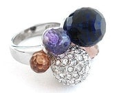 RESERVED ValkyrieOmi BLUE purple Amethyst Disco BALL Sterling Silver Vintage Ring