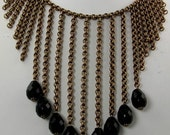 Art Deco Brass Chain Black Jet Crystal Vintage Necklace