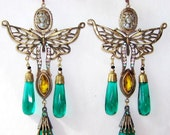 Stunning Art Deco Ornate Cameo Butterfly Czech Glass Vintage Earrings