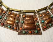 OLD Asian Ornate Panel Copper Brass Turquoise Coral Stone Antique Necklace