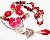 Sale Beautiful Czech Art Deco Red Buddha Crescent Vintage Necklace