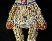 TRIBAL Ethnic Figure beaded gold Vintage Brooch Hand Made in India