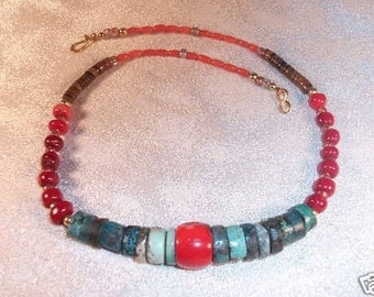 Chinese Red Coral Turquoise with Tigers Eye Beautiful Vintage  Necklace