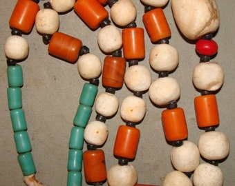 Incredible Ethnic Tibetian Glass Bone and Stone Vintage Necklace