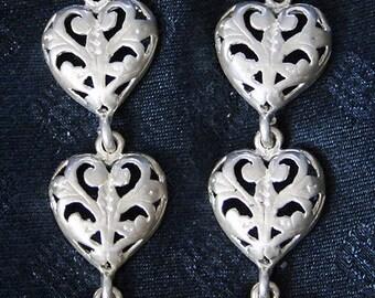 Wonderful Italian Victorian design openwork Sterling Silver Long Vintage heart earrings