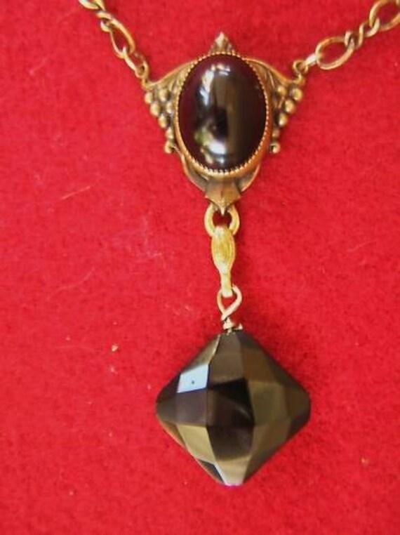 1920s Art Deco Black Onyx Long Flapper Lavaliere Vintage Necklace